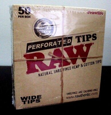 Raw Perforated Wide Rolling Tips Natural Hemp Papers Tips 50 Count~Full Box~