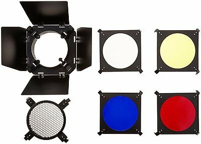Barn Door and Honeycomb Grid and Gel Set for Hensel, Elinchrom, Photogenic