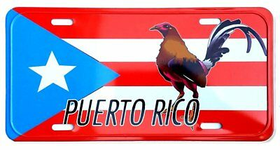 """Puerto Rico Flag & Rooster 6""""x12"""" Aluminum License Plate Tag ( Tablilla )"""