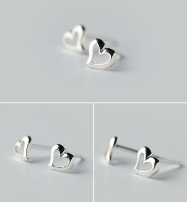 Classic Women Girl 925 Sterling Silver 5mm Heart Stud Earrings gift Box K29A