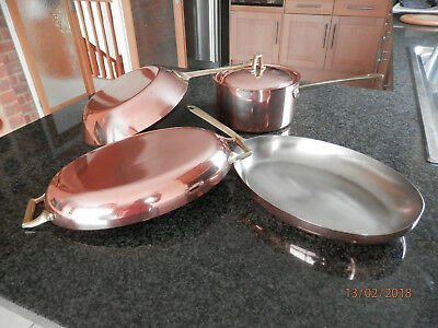 Vintage Copper Pans set of 4 Frying and Saucepans Paul Revere-ware USA 1972.