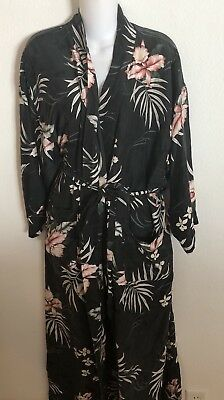 Tommy Bahama Black 100% Silk Long Floral Belted Robe Sz. M