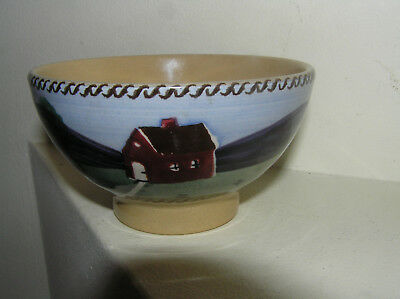Nicholas Moss Pottery House & Tree Design Hand Painted Footed Saki Bowl  Ireland