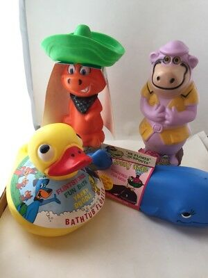 Four vintage Hanna Barbera cartoon character soap containers. 1976 with tags.