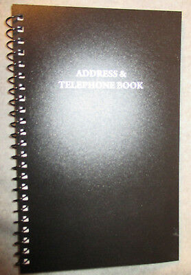 """BLACK ADDRESS & Telephone BOOK SPIRAL A - Z Lined Notes 8X5 1/2"""" Email Phone new"""