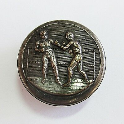 Very Cool Antique Boxing Sterling Silver Tin