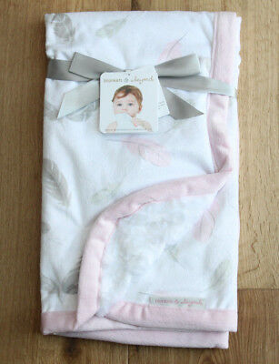 Blankets & Beyond Baby Girl Blanket ~ White, Gray & Pink ~ Feather Print ~