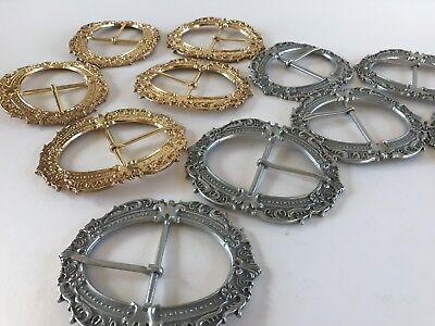 LARGE ORNATE METAL BUCKLES Brass Gold and Silver Finish Fit 50 mm BELT STRAP