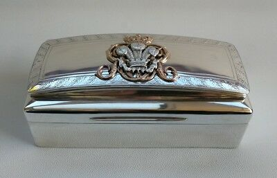 Vtg 1930 Solid Silver Welsh Dragoon Cavalry Dress Pouch Cigarette Case Box 795g