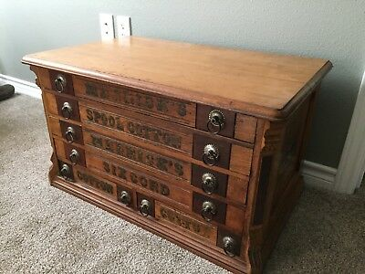 Antique Merrick's Spool Cabinet 6 Drawer Oak