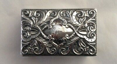 Antique Repousse Silver Table Matchbox Cover. Adie & Lovekin.  Hallmarked 1892.