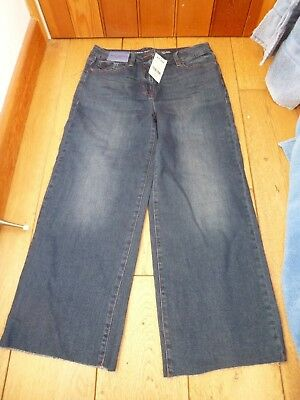 Next Washed Indigo Cropped Ankle Wide Jeans 12 R 10 R 10 L Raw Hems Mid Rise New