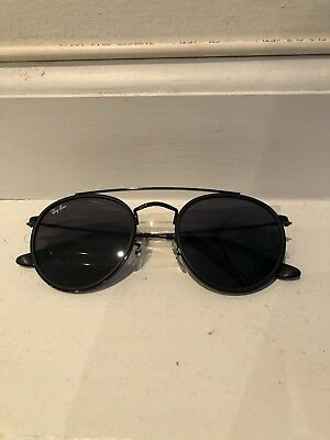 RAY-BAN ROUND DOUBLE Bridge Black Frame Blue Grey Classic Sunglasses ... 760f45d156