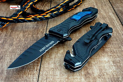 "8"" Hunt-Down Pearl Swirl Blue Tactical Spring Assisted Open Pocket Knife Folding"