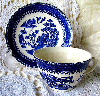 Royal Alma Blue Willow Teacup and Saucer, Rare Salopian Blue Royal Alma Tea Set