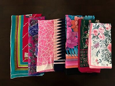 Vintage Lot Of 7 Vera, Echo Scarf Mix No Tag Geometric Floral Clean Beautiful