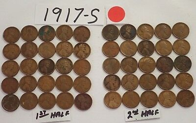 1917-S Solid Date Pennies=Roll 50 Lincoln Wheat Cents