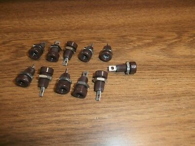Lot/11 Vtg HH Smith 1509 Brown Banana Panel Mount Jack,NOS