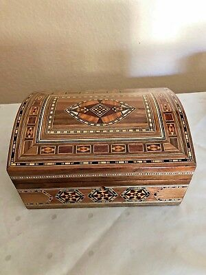 Handmade WOODEN MOSAIC Mother of Pearl wooden JEWELRY Gift Box