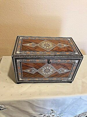 Handmade WOODEN MOSAIC Mother of Pearl wooden  JEWELRY BOX WITH DRAWER/vintage