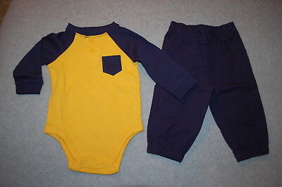 d2016590a7e8 Baby Boys Outfit NAVY BLUE & YELLOW L/S HENLEY SHIRT Pocket PANTS Navy 6
