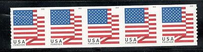 US New 2018 Flag (APU) Coil Strip Of 5 Mint/nh Free Shipping