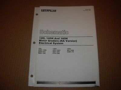caterpillar 12h 140h 160h na grader electrical system schematic manual