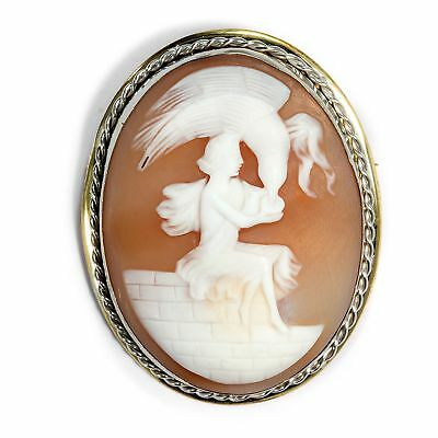 Um 1930: Brooch with Shell Gem: Goddess Lift Encased in Silver, Cameo Cameo