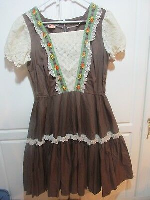 Malco Mode Brown With Off White Trim Square Dance Dress, Size 14
