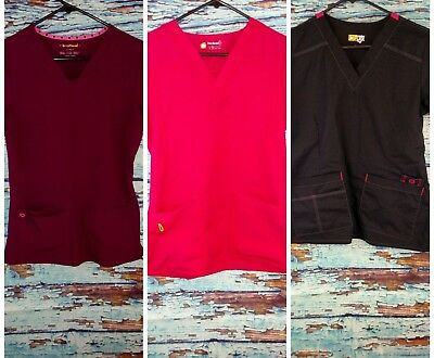 Lot of 3 scrub tops, HeartSoul, Wonder Flex, Four-Stretch4 womens size small