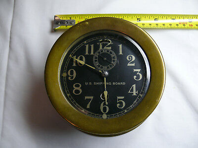 "Early 20th Century 4"" Dial Brass Seth Thomas U.S. Shipping Board - Keeps Time"
