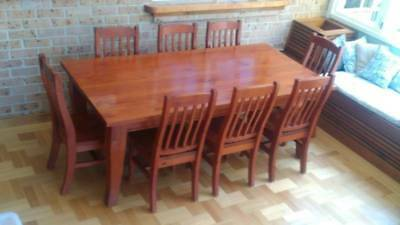 Reclaimed / recylcled  oregan table and 8 chairs