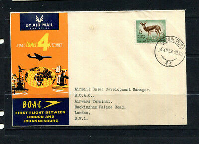 South Africa 1959 Boac Souvenir Stamp Cover First Flight Johannesburg To London