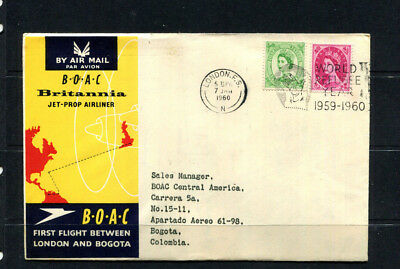 Gb 1960 Boac Souvenir Stamp Cover First Flight London To Bogota Colombia