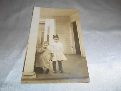 Antique REAL POSTCARD RPC Little Sister & Brother on Front Porch Old Vtg Photo