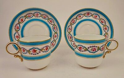 Pair of Antique Royal Worcester Demitasse Cups & Saucers
