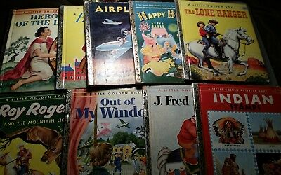 "Lot of 9 Vintage 1950s 1st Edition Little Golden Books ""A"""