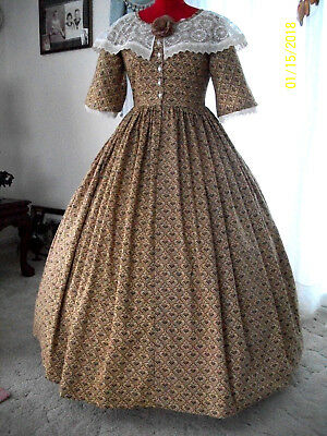 1800`s Victorian Civil War Gown 1 Piece Tan-Brown  Day Dress Reenacting Costume