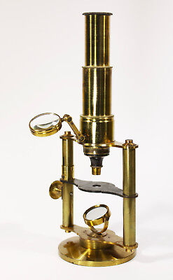 Ca. 1870 Brass Microscope + Case