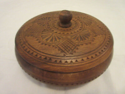 Antique Handmade Wood Bowl With Lid -- From Europe -- Solid Wood