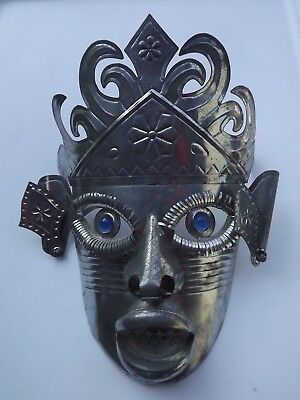 "Vintage Mexican Folk Art Punched Tin Metal Mask With Glass Eyes 11"" x 8"""