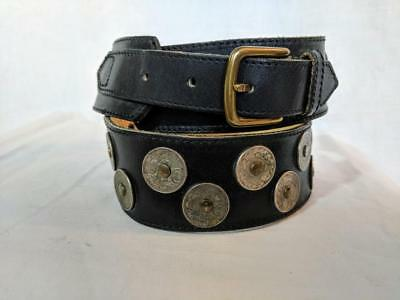 vintage KENZO BLACK LEATHER FRENCH COIN BELT SMALL 29 30 31 Made in France