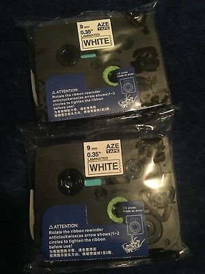 2x TZ-221 Laminated Label Tape Brother P-Touch Black on white Tape 9mm TZe 221