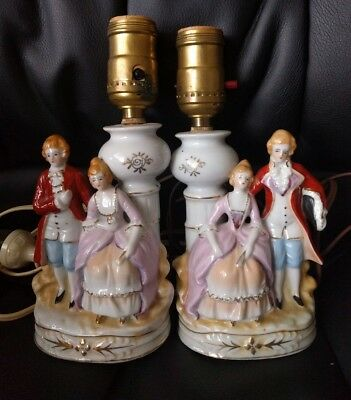 Victorian Couples Pair Of Vintage Porcelain Table Lamps Japan Both Work!!