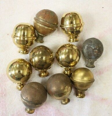 Brass Bed Knobs. Mixed Group Of Ten. Used, With A Few Dents. But Victorian Orig.