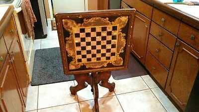 Walnut checkerboard mother of pearl antique chess table, 19th Century