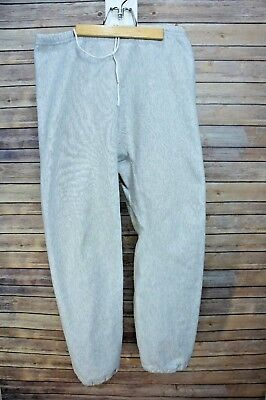 Vintage Lands End Champion Reverse Weave Grey Double Grommet Gusset Sweatpants L