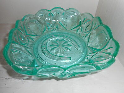 Crown Crystal Emerald Green Glass Horseshoe Bowl
