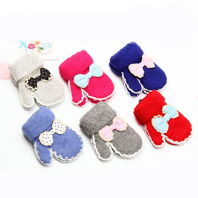 NEW Warm Infant Baby Girls Kids Cute Bowknot Winter Warm Gloves Stretchy Mittens