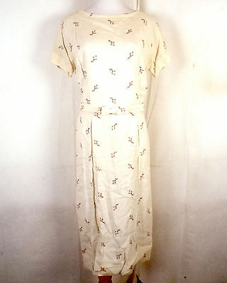 vtg 40s 50s L'Aiglon muted Embroidered Floral Rose Linen Day Dress Bow Belt 38